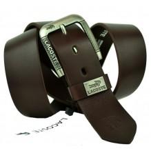 Мужской кожаный ремень Lacoste темно-коричневый (арт. 104313)