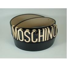 Широкий женский кожаный ремень Moschino черный (арт. 104627)