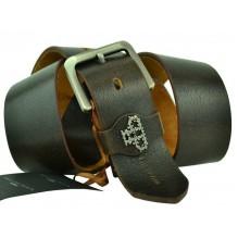 Мужской кожаный ремень Philipp Plein темно-коричневый (арт. 104386)
