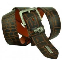 Мужской кожаный ремень Philipp Plein темно-коричневый (арт. 104392)