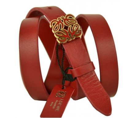 Женский кожаный ремень LOEWE красный (арт. 104627) LOEWE