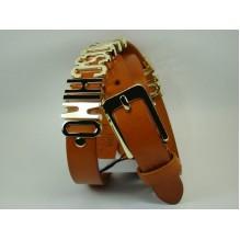 Женский кожаный ремень Moschino коричневый (арт. 104627)