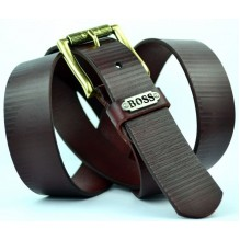 Мужской кожаный ремень HUGO BOSS темно-коричневый (арт. 104312)