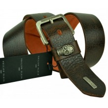 Мужской кожаный ремень Philipp Plein темно-коричневый (арт. 104401)