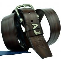 Мужской кожаный ремень Giorgio Armani темно-коричневый (арт. 104533)