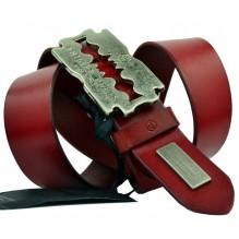 Мужской кожаный ремень Philipp Plein красный (арт. 104540)