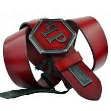 Мужской кожаный ремень Philipp Plein красный (арт. 104541)