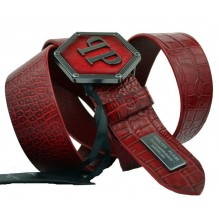 Мужской кожаный ремень Philipp Plein бордовый (арт. 104542)