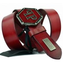 Мужской кожаный ремень Philipp Plein красный (арт. 104543)