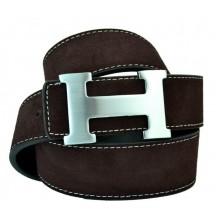Мужской кожаный ремень Hermes темно-коричневый (арт. 104165)