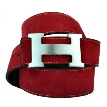 Мужской кожаный ремень Hermes красный (арт. 104166)