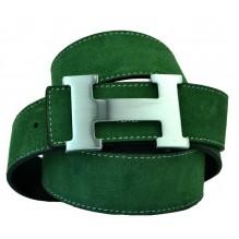 Мужской кожаный ремень Hermes зеленый (арт. 104168)