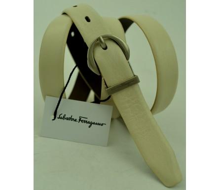 Женский кожаный ремень Salvatore Ferragamo белый (арт. 104627) Salvatore Ferragamo